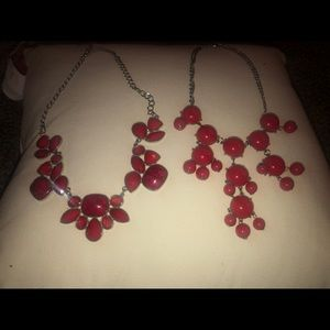 Two Chunky Red Necklaces